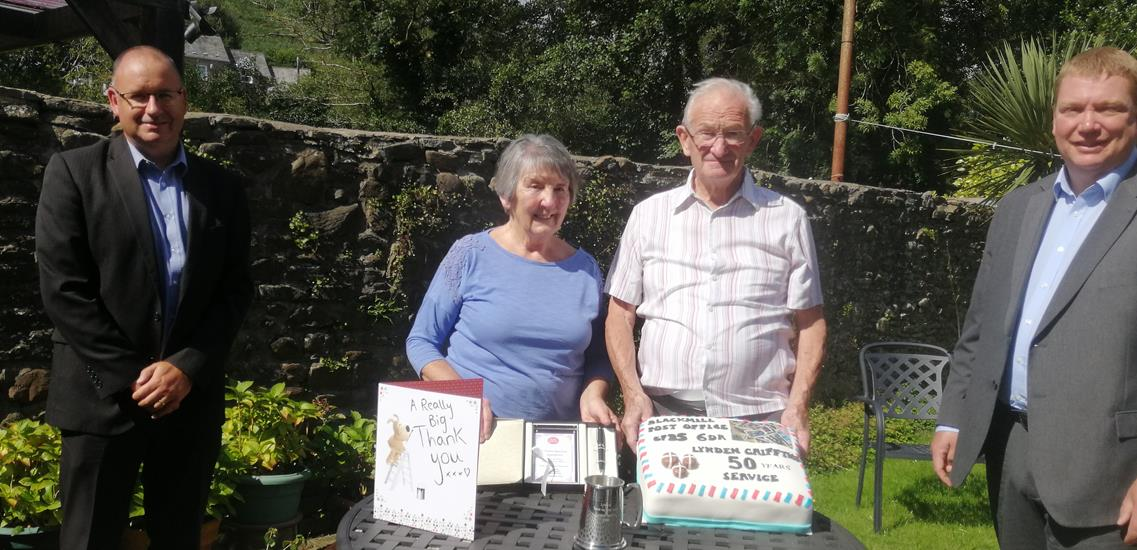 50 years' long service award for popular Blackmill Postmaster in South Wales